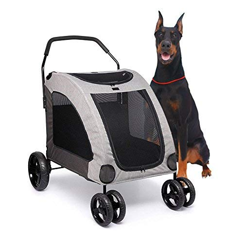 Towerin Large Breathable Mesh Window Dog Cage Stroller